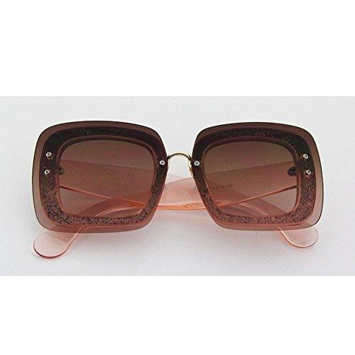 H.ZHOU Sonnenbrillen Avantgarde-weibliche Sonnenbrille-runde Gesichts-Sonnenbrille-weibliche quadratische Gläser (Farbe : 2)