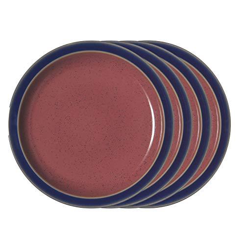 Denby HRL-003/4BR Harlequin Blue/Red Set of 4 Dinner Plates Teller-Set, Steingut, multi color; vibrant Denby Blue Plate