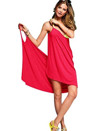 Minetom Donna Bikini Costume da Bagno Cover-Up Holiday Beach Dress Hollow Tute Scollo a V Senza Schienale Vestito Rosso