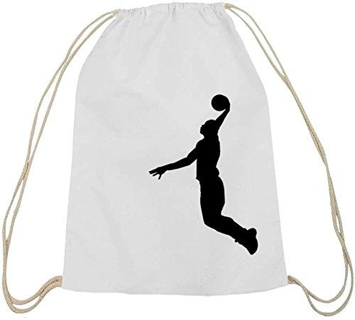 Shirtstreet24, BASKETBALL PLAYER, NBA Sport Baumwoll natur Turnbeutel Rucksack Sport Beutel weiß natur