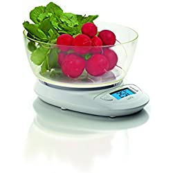 Laica KS1019 Tabletop Electronic kitchen scale White - kitchen scales (LCD, 44 x 19 mm, Blue, White, 215 mm, 180 mm)