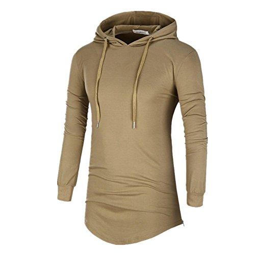 BOMOVO Herren Langarmshirt Shaped Fashion Long Sleeve Tee Braun