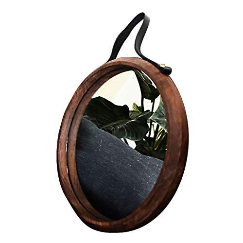 Antik Schwarz Walnuss (Nordic schwarzer Walnuss-Massivholz-einfacher Verfassungsspiegel-Veranda-Schlafzimmer Badezimmer an der Wand befestigter runder Spiegel (größe : 38cm))