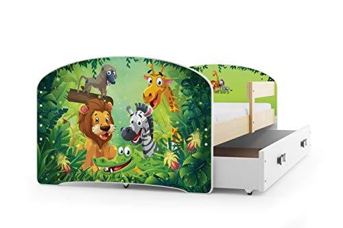 Letto singolo luki 160x80 con cassettone, telaio in pino massello, colore telaio pino naturale, materasso in spugna gratis, cameretta ragazzi. (jungle)