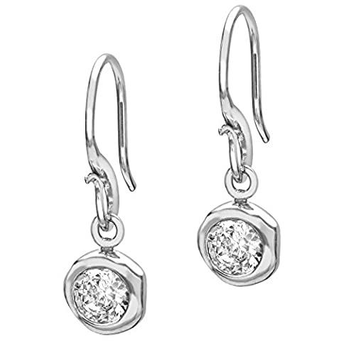 Dower & Hall Dewdrop Sterling Silver 5mm White Topaz Beaten Nugget Drop Earrings