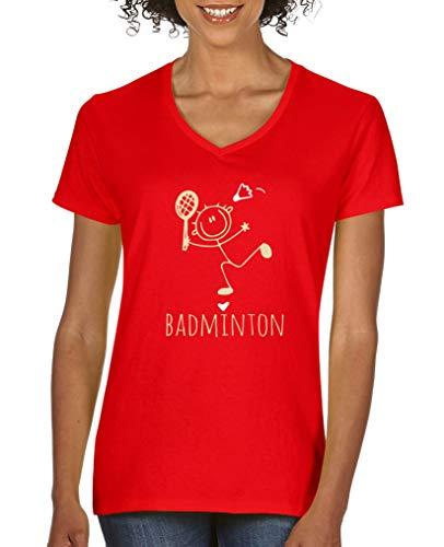 Comedy Shirts - Badminton Herz - Damen V-Neck T-Shirt - Rot/Beige-Weiss Gr. XL