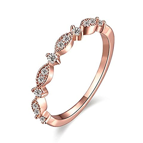 Bodya Femme 3 mm Plaqué Or Rose Oxyde de Zirconium CZ Amour Eternity Bague de promesse Alliance