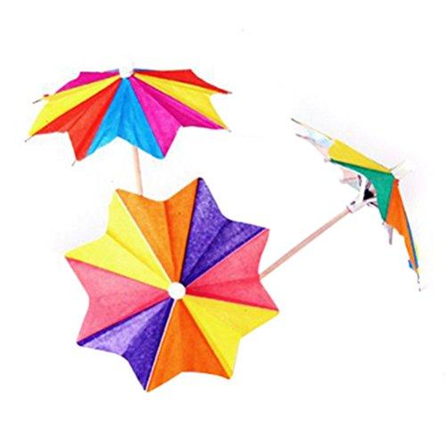 LEORX Sombrillas de Papel para Coctel Bebidas , Parasol paraguas selecciones - 144pcs (Color al azar)