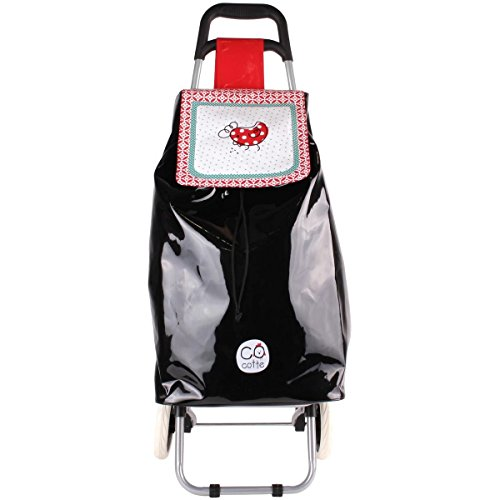 Promobo - Chariot De Courses Shopping A Roulettes Collection Cocotte Noir
