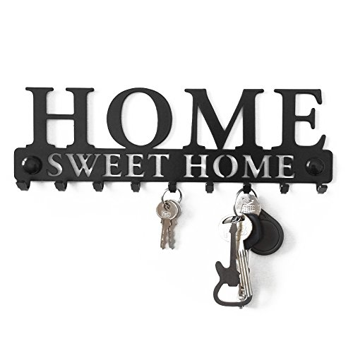 Perchero Decorativo de Pared Gancho Estante para Porta Llaves Llaveros Tablero Percha Metal Colgadero Sweet Home Garaje Cocina Key Hanger Welcome