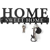 Perchero Decorativo de Pared Gancho Estante para Porta Llaves Llaveros Tablero Percha Metal Colgadero Sweet Home Garaje Cocina Key Hanger Welcome