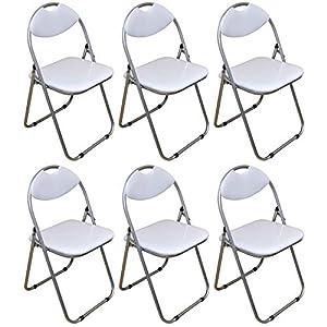 Klappstuhl – gepolstert – Weiß – 6 Stück