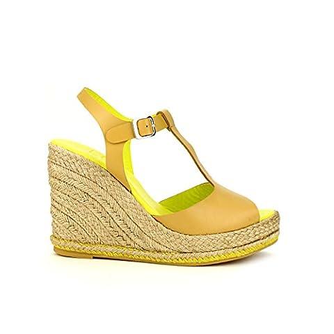 Cendriyon, Compensée Caramel Veau Cuir WANDA LO.E Chaussures Femme Taille 37