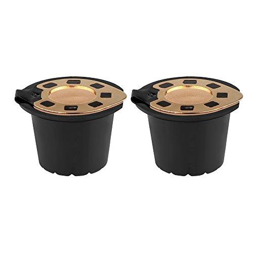 OurLeeme 2pcs 24K Ricaricabile riutilizzabile caffè capsula filtrante Compatibile con Nespresso (con cucchiaino da caffè)