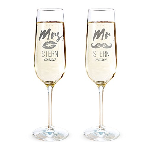Amavel - Set DE 2 Flûtes à Champagne avec Gravure - Mr. & Mrs. - Personnalisées avec [Noms] et [Date] - Lèvres et Moustache - Set de Verre comme Cadeau de Mariage - Cadeau pour Amoureux