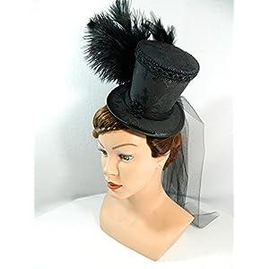 Mini Zylinder schwarz Damenhut Fascinator Hut Schleier