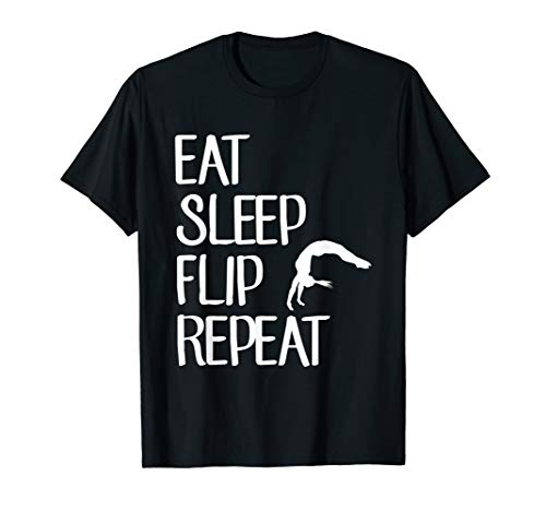 Eat Sleep Flip Repeat T-Shirt Funny Gymnastics Gymnast Gift - Cheerleading Mom-shirt