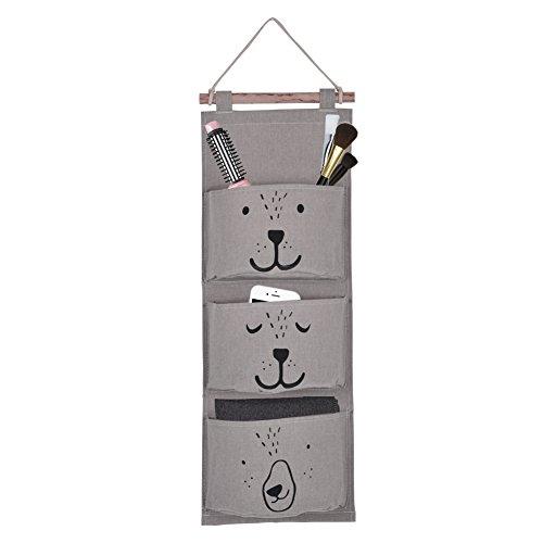 Yosoo Aufbewahrung Hängende Tasche Leinen Stoff Wand Tür Tasche Hängende Taschen für Socken Schuhe Spielzeug Schmuck 3 Tasche ( Farbe : Grau )