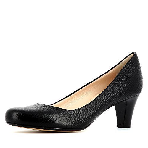 Evita Shoes Giusy Damen Pumps Genarbtes Leder Schwarz 35