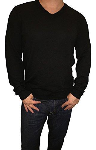Calvin Klein Herren Merino Pullover V-Neck Stripes - schwarz - X-Groß -