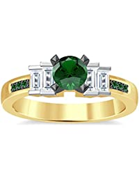 Silvernshine 1.35Ct Round & Buget Cut Green Garnet Sim Dimoands 14K Yellow Gold PL Engagement Ring