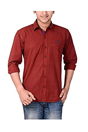 ANRY Mroon Cotton Casual Shirts for Men (MRN4100) (Small, Maroon)