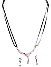 Mangalsutra - Gold Plated American Diamond Mangalsutra Set With Pendant & Earrings - Valentine Gift Jewellery...
