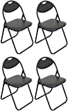 Harbour Housewares Black Padded, Folding, Desk Chair / Black Frame - Pack of 4