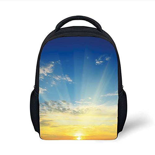 Kids School Backpack Sky,Sun Rays Above The Horizon Sunset Clouds Seasonal Scenic Beauty The World Picture Decorative,Blue Yellow Plain Bookbag Travel Daypack