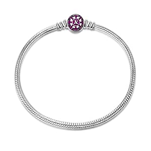 NINAQUEEN 17 cm Rosa 925 Sterlingsilber Charm Armband mit exquisiter Emaille gefertigt mit Standardarmband kompatibel