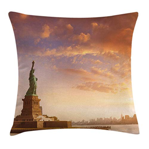 DPASIi Landscape Decor Throw Pillow Cushion Cover, Statue of Liberty Land of Free Home of Brave New York Scenery with Clouds Image, Decorative Square Accent Pillow Case,Multi 16x16inch New York Satin Bow