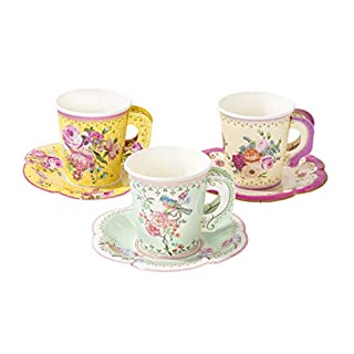 Talking Tables TS6-CUPSET-VINTAGE Truly Scrumptious Party Vintage Floral Tea Cups and Saucer Sets, Paper, Mixed Colours
