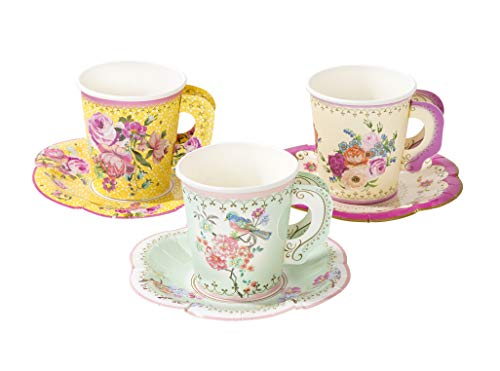 Talking Tables TS6-CUPSET-VINTAGE Truly Scrumptious Mixed Vintage Designs 12Pk Cup With Handle & Saucers Set Papier mehrfarbig Sets De Table