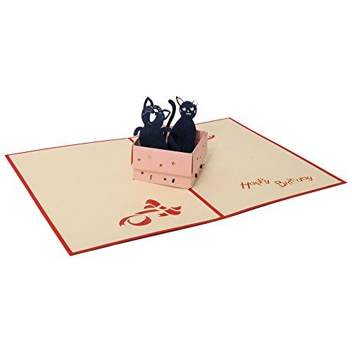 Favour Pop Up originelle Glückwunschkarte zum Geburtstag mit fröhlichen dreidimensionalen Katzenmotiven Format 12x17cm mit passendem Briefumschlag TB016