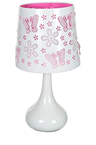 Lampe touch métal blanc motif papillon