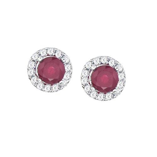 14k Weißgold Rubin und Diamant Halo Ohrringe