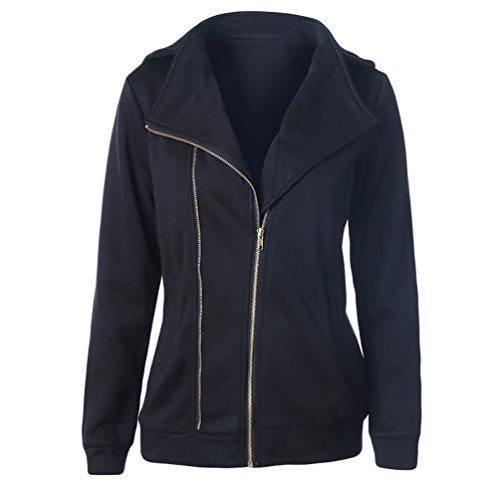 CHENGYANG Hoodie Veste Jacket Casual Coat sweat à capuche zippé Sweater Jumper Blouse Tops uni Sweatshirts pull sweats femme Noir