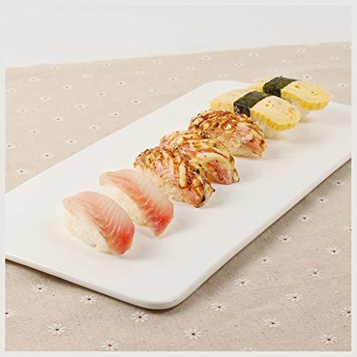 YYF Vaisselle en céramique blanche d'hôtel - gâteau de casse-croûte rectangulaire simple de sushi (Taille : 35cmX17cmX1.3cm)