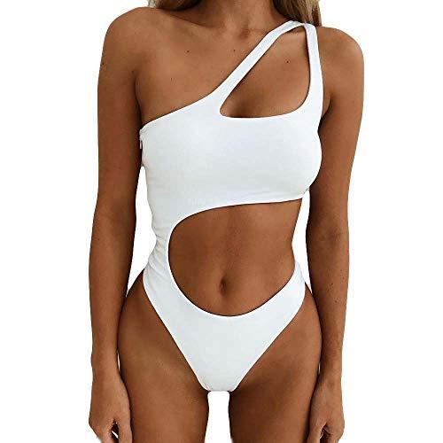 BAMD=NB Damen Neckholder Monokini Rückenfrei Cut Out Push-up Bikini Elegant Badeanzug