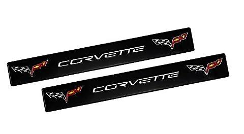 2x (pair/set)BLACK CORVETTE C6 Double Wings Real Aluminum Emblem Rare for Chevrolet Chevy Corvette General Motors C6