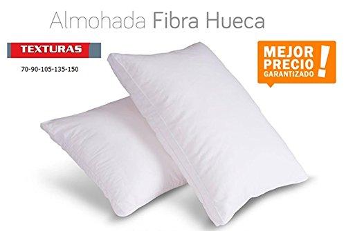 TEXTURAS HOME - Unic Almohada Fibra Hueca ANTIALÉRGICA Blanco Poliéster 100% ECONOMY (135_x_40_cm)