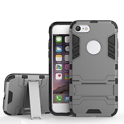 iPhone 7 Cover, Pasonomi [Kickstand Series] Dual Layer Ibrida Rugged Custodia Morbido Protettiva Bumper Cover Case con Stare per Apple iPhone 7, Grigio Grigio