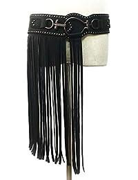 Ddcjc Estilo Punk Falda Larga con Flecos para Mujer Remache Ancho Cinturón  Elástico Negro Hebilla 297172c724a1