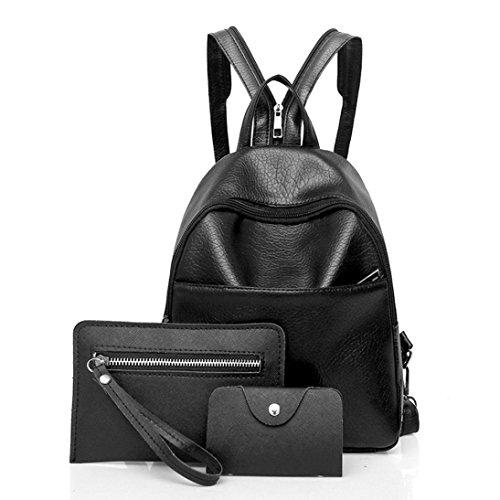 NINGSUN Donne Tre set Zaino alla moda Borse a tracolla Portafoglio Clutch  Wallet Eleganti Nero Colore 56855bbf982