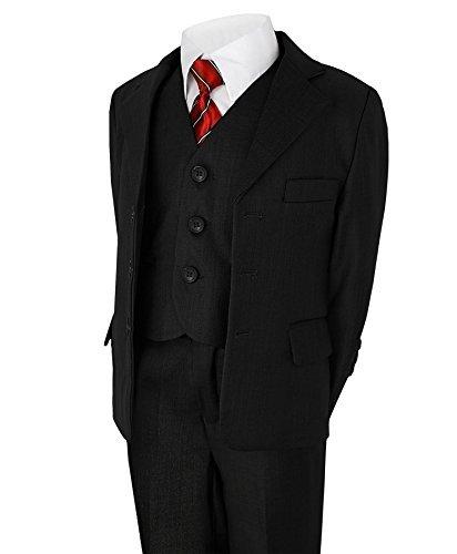 Jungen 5 Stück Anzug Hochzeit Party Jacke Hose Hemd Weste Krawatte - Schwarz, Jungen, 104