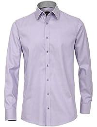 Venti Slim Fit Hemd Langarm mit Blauen Besätzen Struktur Weiß