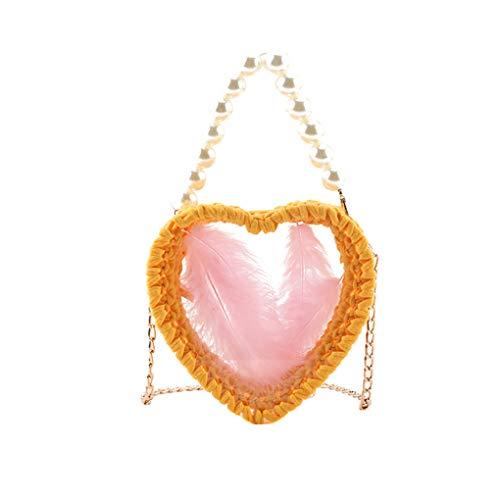 Dorical Klein Umhängetasche für Mädchen/Damen Gewebte Tasche mit Perle Damentasche Süß Diagonale Perlenkreuztasche Love Shape Umhängetasche Crossbody