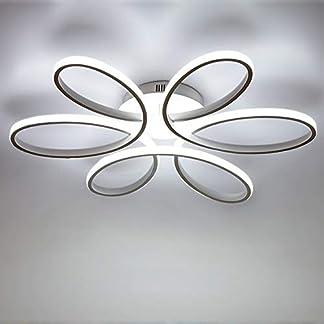 LED 85W Plafoniera Creativo Forma di fiore Lampada da soffitto Acrilico Paralume in alluminio Moderno Elegante Bianco opaco Soggiorno camera da letto Illuminazione a soffitto L59cm * H11cm