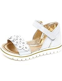 MONNALISA E9100 Sandalo Bimba Girl White Silver Scarpe Glitter Shoe Flowers e70b7452d59
