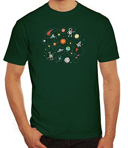 Raumfahrer Herren T-Shirt mit Astronauten im Weltall Motiv von ShirtStreet Dunkelgrün